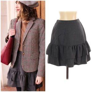 J. Crew Charcoal Ruffle Flounce Wool Flannel Skirt
